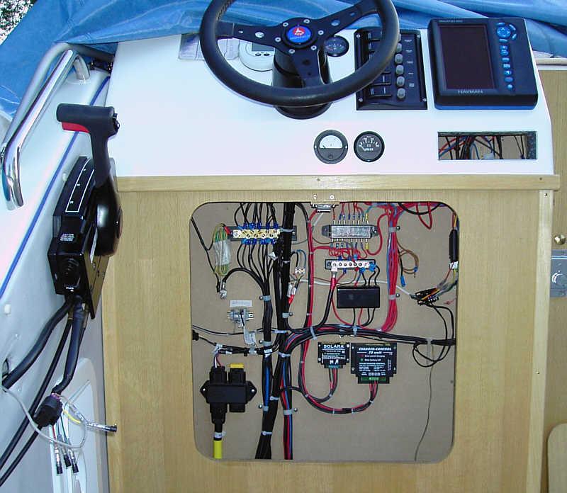 Cockpit mit offenem Schaltschrank